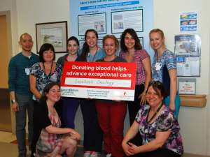 Inpatient oncology staff support our blood donation efforts