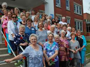 The class of 1967 on the steps of the Kaufman Building, their home during their nursing studies.