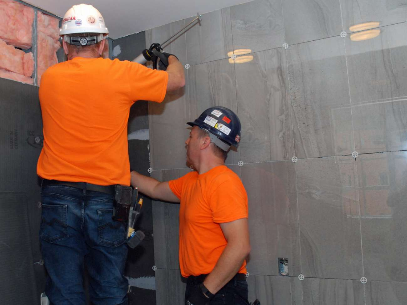 Work is underway re-tiling patient shower rooms at GRH's Freeport Campus.
