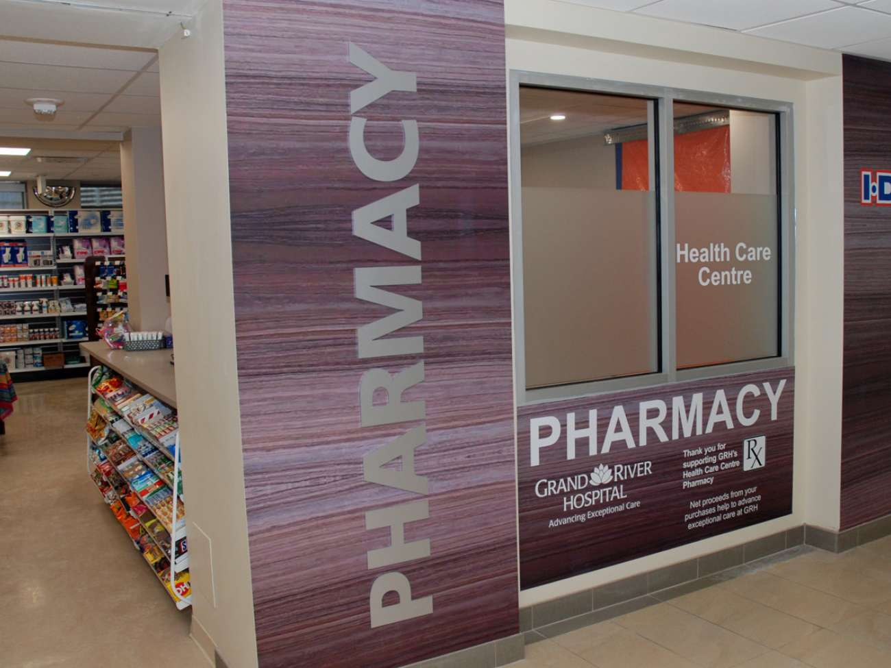 Health Care Centre Pharmacy is located right inside the KW Campus main lobby, at 835 King Street West. Net proceeds from the pharmacy support care at GRH.