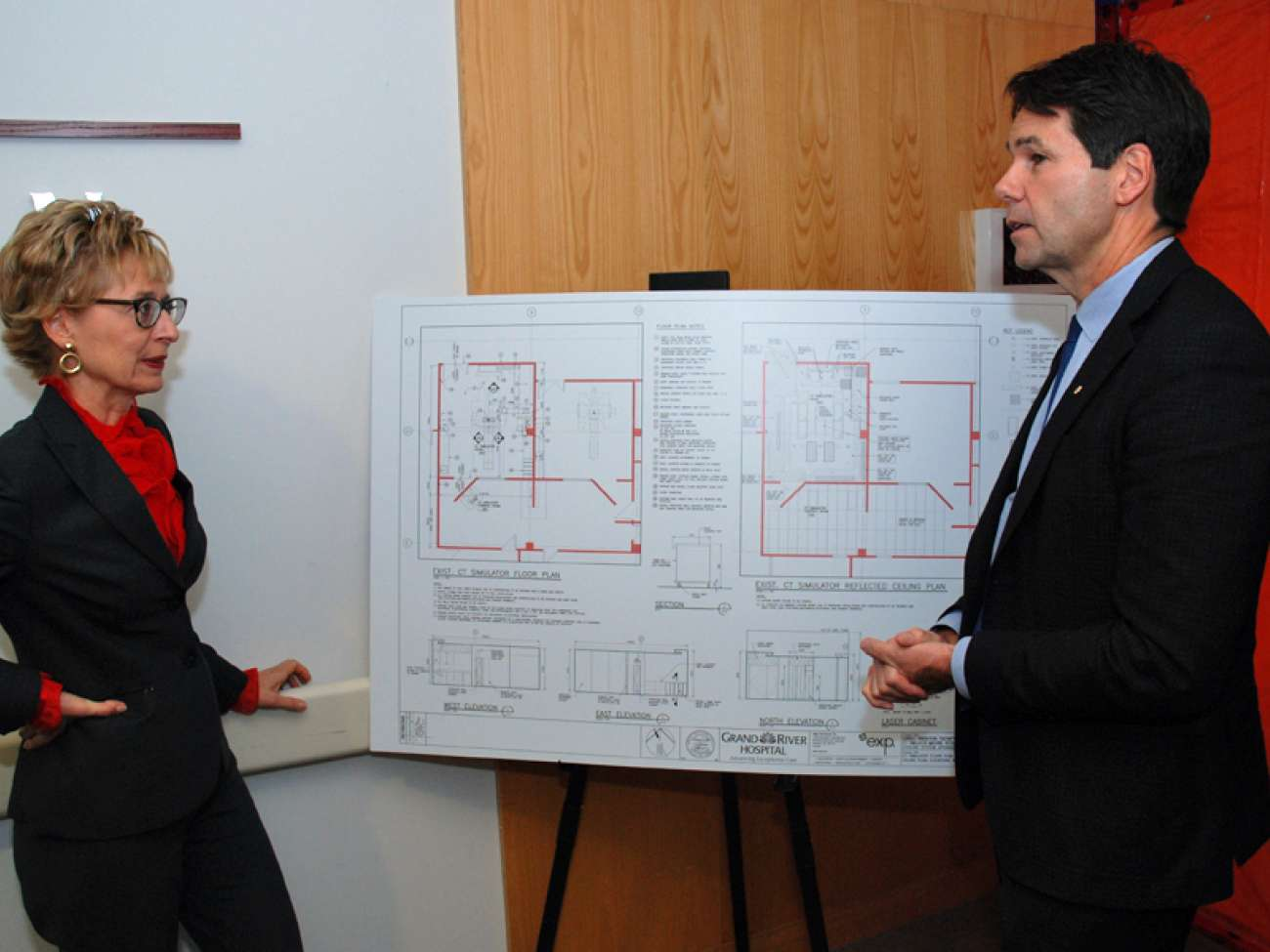 MPP Daiene Vernile and Minister Hoskins review renovation plans to install a second CT simulator at GRH.