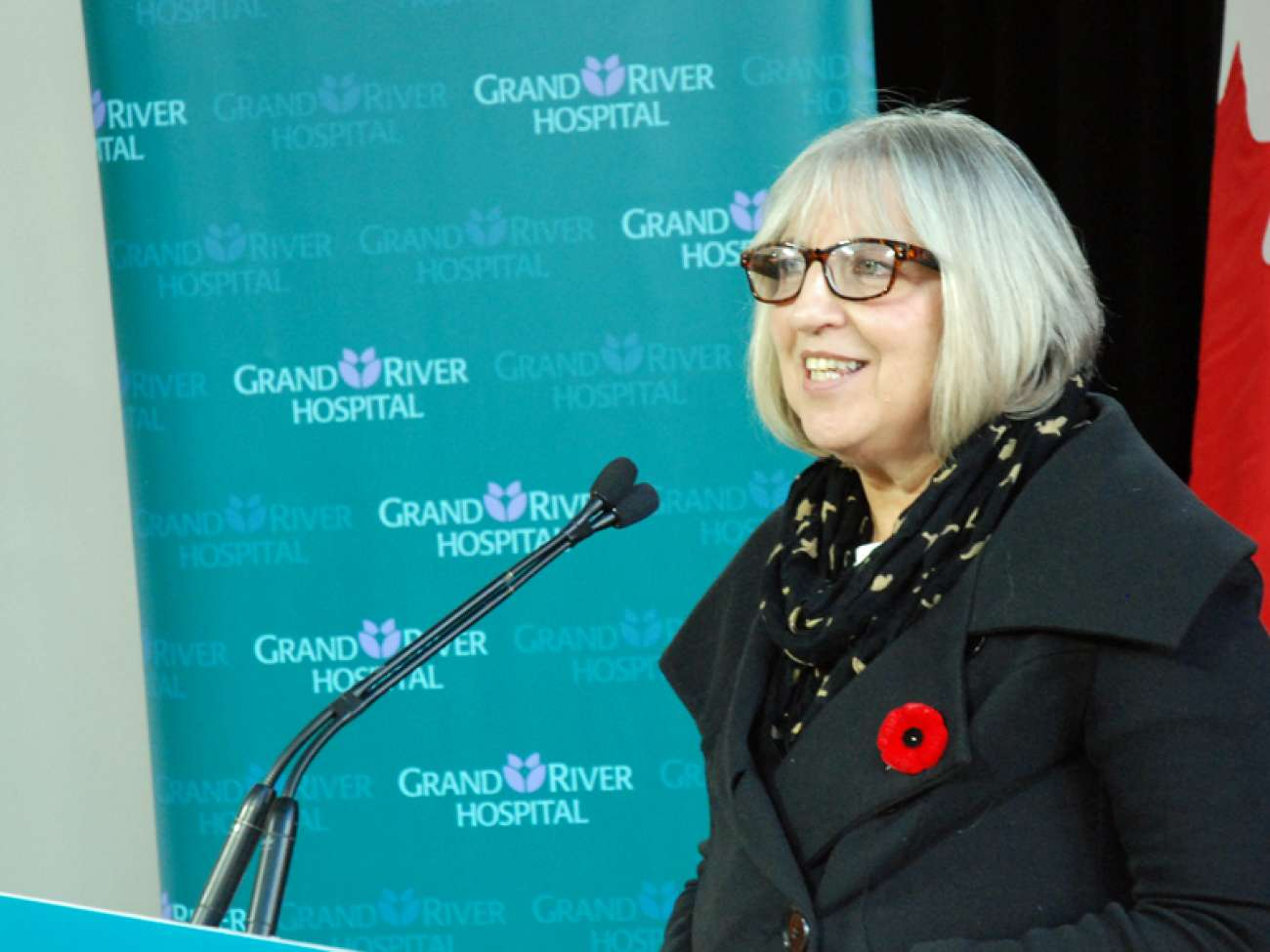 JoAnne MacPhail describes her cancer journey to guests at the announcement for additional cancer treatment equipment.