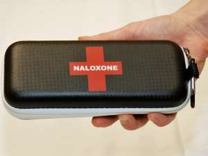 A naloxone rescue kit is a pouch that's about the size of a hand.