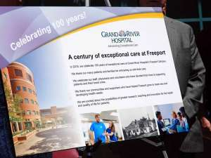 A plaque marking 100 years of care at Freeport