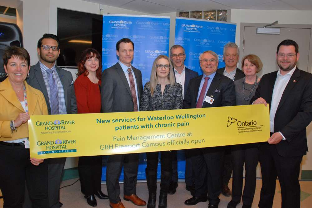 Community representatives cut the banner to officially open the new pain management centre at GRH's Freeport Campus