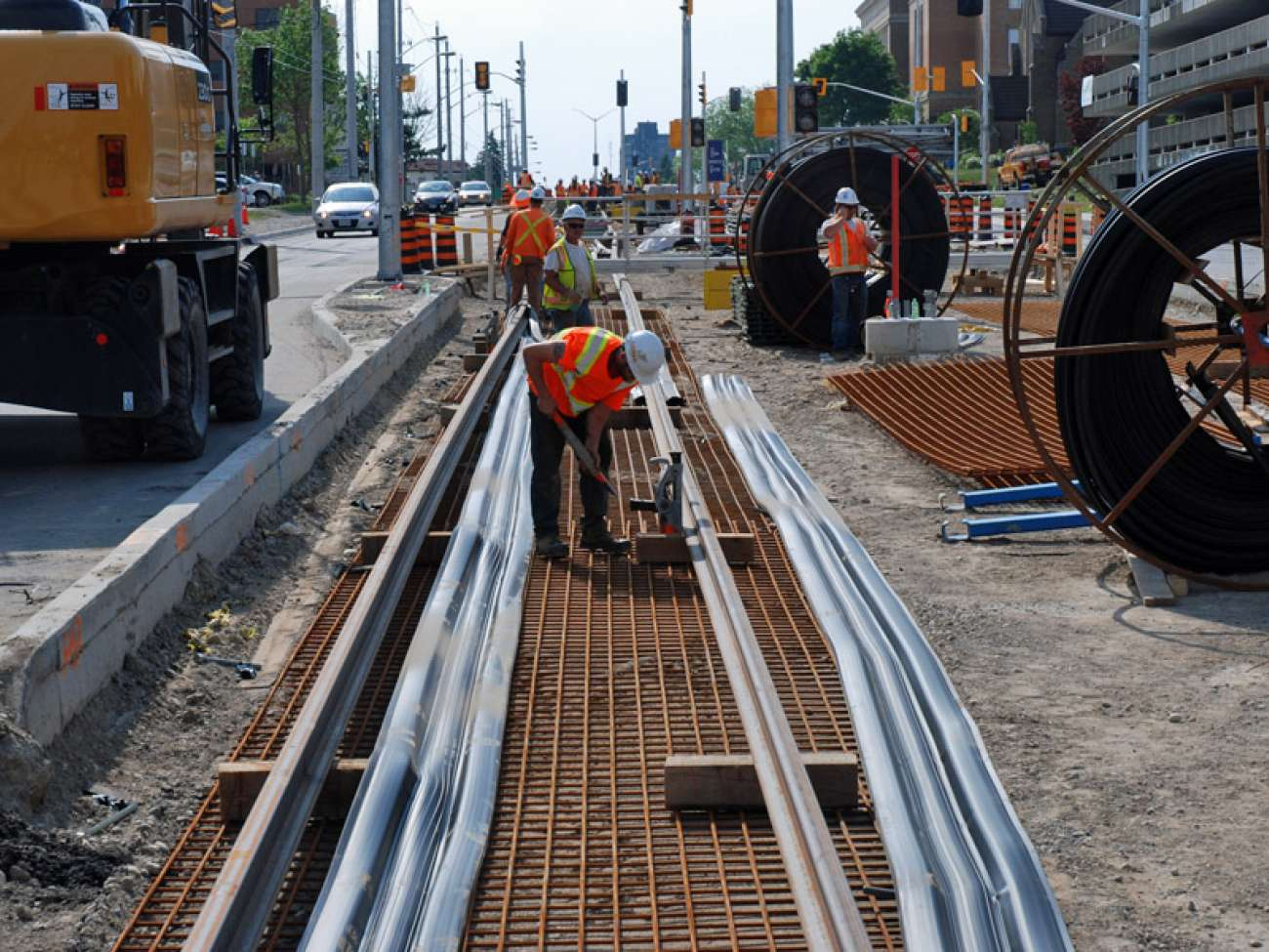 GrandLinq crews are hard at work on the ION track in front of GRH's KW Campus