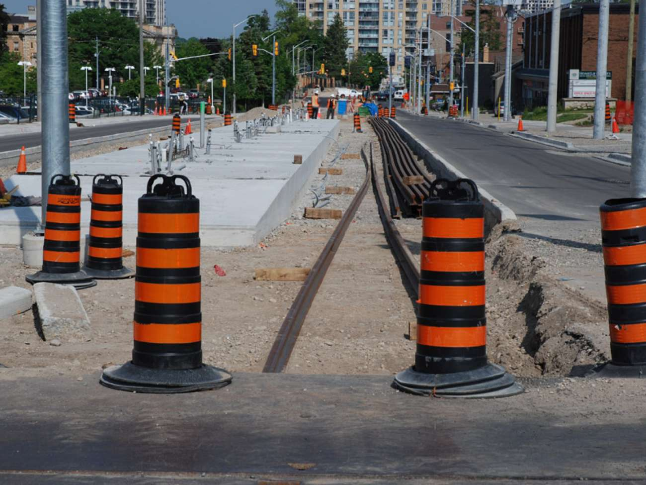 Looking west along King Street at the new GRH ION stop