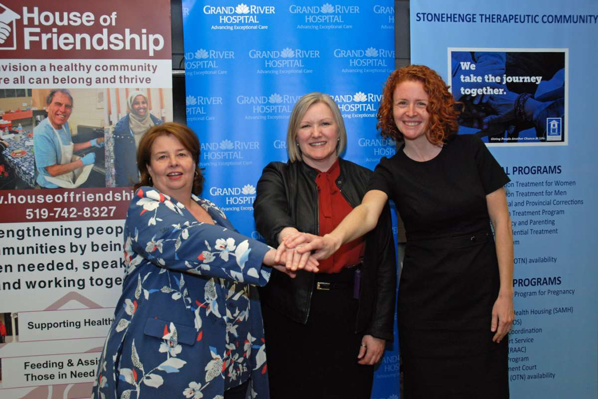 Pictured are Pam McIntosh of House of Friendship, Christine McLellan for GRH and Kristin Kerr of Stonehenge Therapeutic Community.