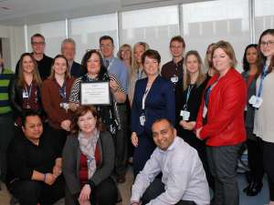 Members of Grand River Hospital's child and adolescent inpatient mental health unit team as they won the hospital's latest award of excellence for their exceptional care.