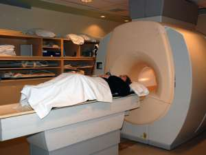 A patient receiving an MRI test