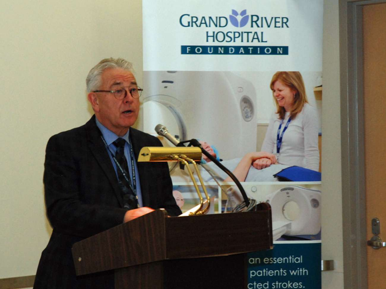 GRH CEO Malcolm Maxwell thanks donors for supporting the new CT scanner.