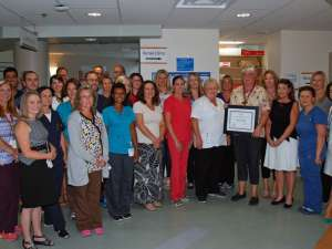 Nancy Evans from GRH's regional renal program stands with her regional renal program team-mates