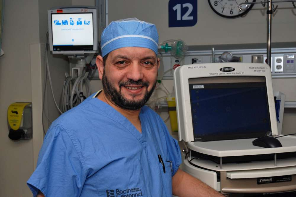 Dr Mohamed Husien stands in GRH's post-anesthetic care unit