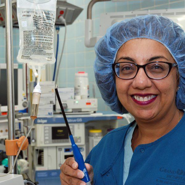 Dr. Vinita Bindlish, an ear, nose and throat specialist, shows the coblation wand.