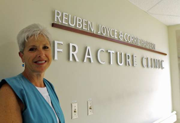 Joanne Bulkiewski stands outside of GRH's fracture clinic