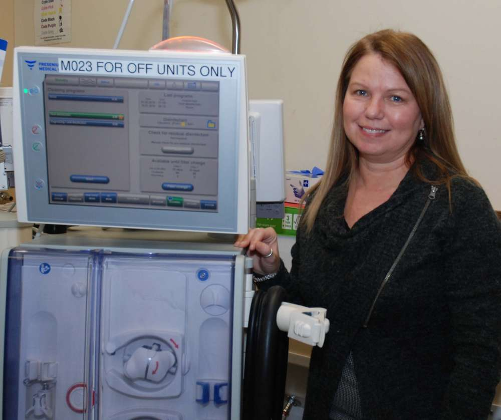 Pam with a dialysis machine