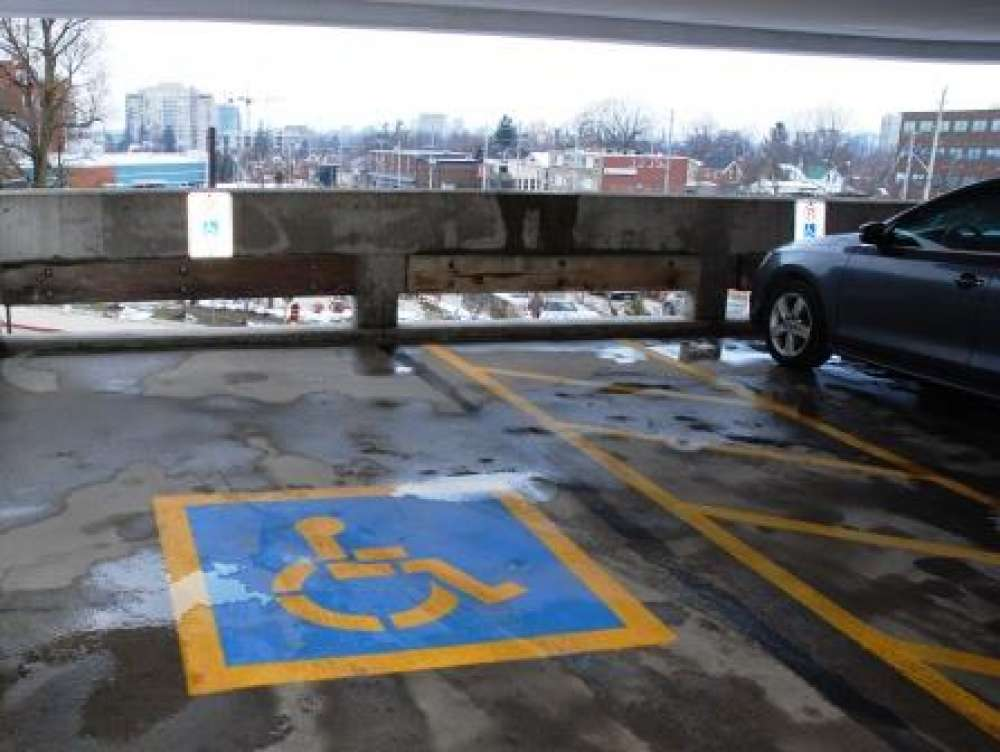 A photo of an accessible parking spot in the KW Campus garage