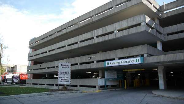 A photo of the outside of GRH's KW Campus parking garage