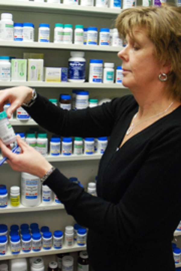 A pharmacist in GRH's health care centre retail pharmacy