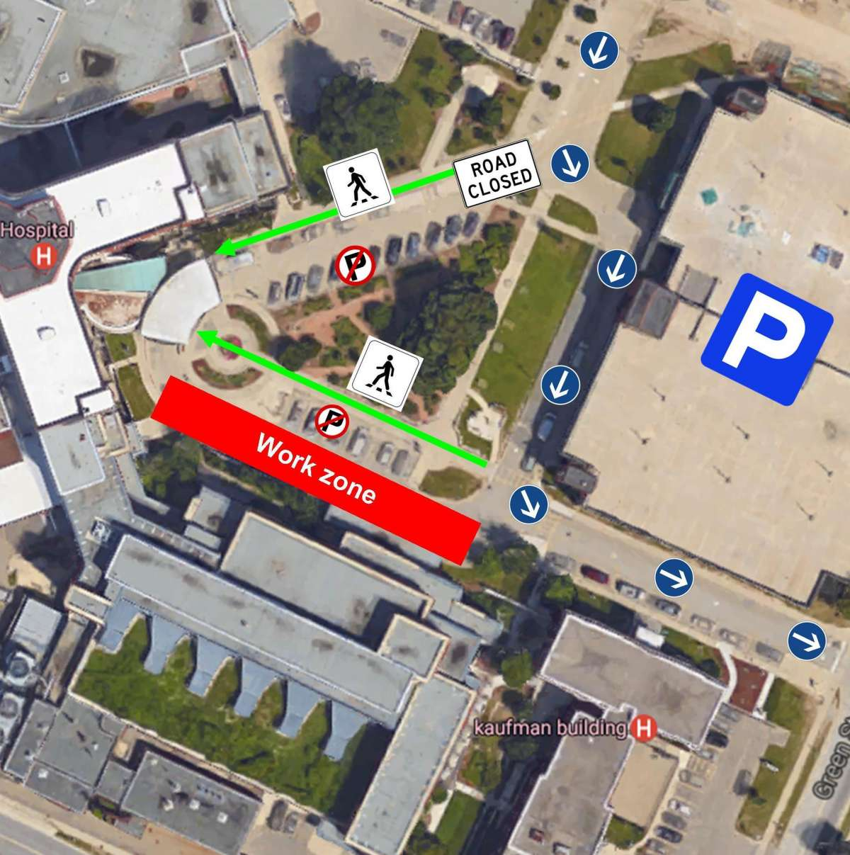 A map showing the closed main driveway at the KW Campus on Sunday January 29th. Vehicles will be re-routed. Pedestrians will still be able to access the main entrance of the hospital.