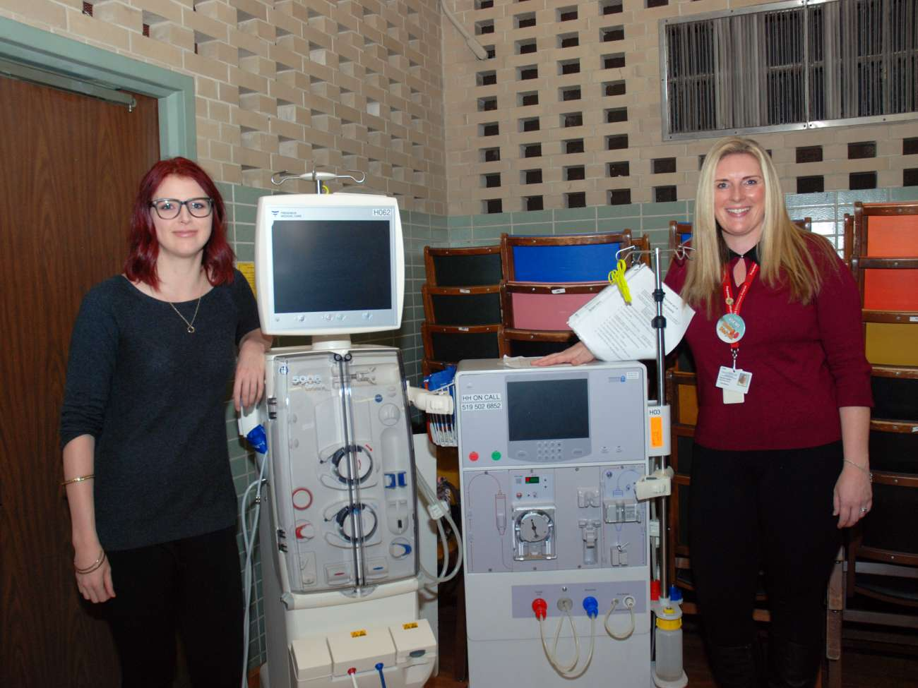 Event organizers Kate McCabe and Sandra Nuttin with home dialysis machines