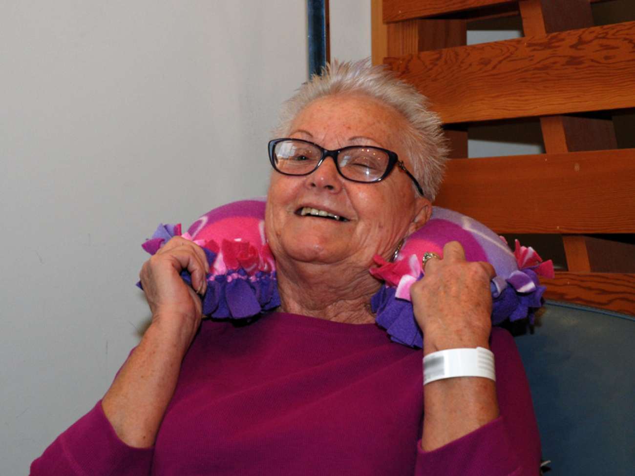 GRH patient Hildegard Anderson loves her huggy pillow, which has helped her feel more comfortable while she undergoes treatment.