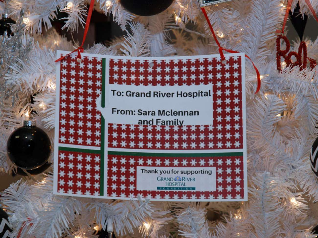 A credit tag for the tree.